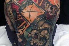 Татуировка : Цветные, Череп на спине