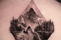 Тату : Волк, Горы на спине