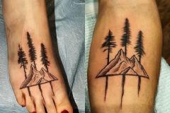 Наколка : Узор, Горы, Деревья на стопе