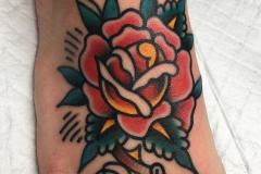 Татуировка : Роза, Цветы, Цветные на стопе