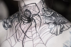 Татуировка : Паук, Паутина на шее