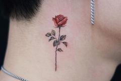 Наколка : Цветные, Роза, Цветы на шее