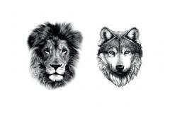 Тату : Лев, Волк, Животные
