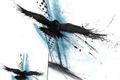 Наколка : Птицы, Ворон, Цветные