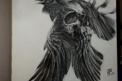 Тату : Череп, Ворон, Птицы