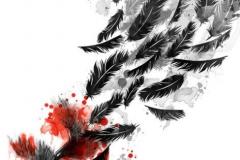 Татуировка : Птицы, Ворон, Цветные, Перо