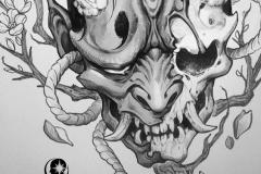 Татуировка : Цветы, Череп, Демон