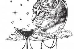 Наколка : Кошка, Луна, Животные - эскиз