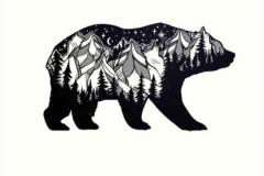 Татуировка : Животные, Медведь, Горы