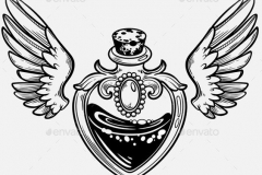 Наколка : Узор, Крылья, Сердце