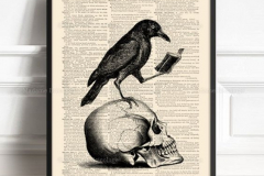 Наколка : Птицы, Ворон, Череп