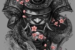 Татуировка : Демон, Цветы, Цветные