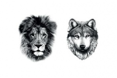 Тату : Волк, Животные, Лев