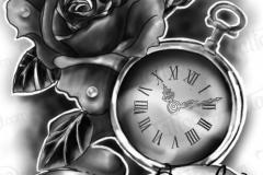 Наколка : Цветы, Роза, Время - эскиз