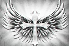 Тату : Крест, Крылья