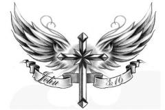 Татуировка : Крылья, Крест