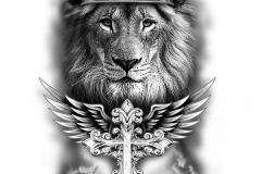 Тату : Животные, Крест, Лев