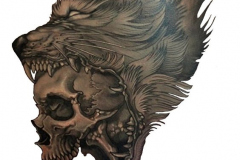 Татуировка : Волк, Животные, Череп