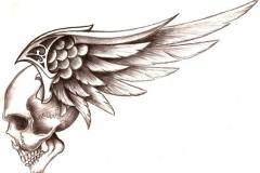 Наколка : Крылья, Череп