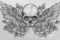 Татуировка : Цветы, Крылья, Череп