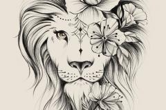 Тату : Животные, Цветы, Лев