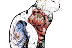 Татуировка : Животные, Цветы, Цветные, Кошка
