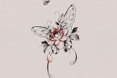 Татуировка : Цветы, Цветные, Бабочка