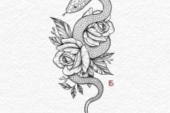 Татуировка : Цветы, Роза, Змея
