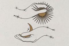 Наколка : Луна, Солнце, Руки