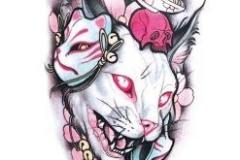 Наколка : Демон, Животные, Цветы, Цветные, Кошка