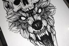Наколка : Волк, Животные, Череп