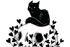 Татуировка : Животные, Кошка, Череп