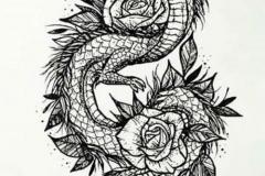 Наколка : Змея, Роза