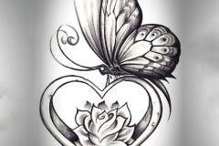 Татушка : Цветы, Роза, Бабочка