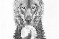 Татуировка : Луна, Волк, Животные, Деревья