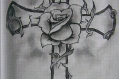 Татушка : Цветы, Роза, Крест