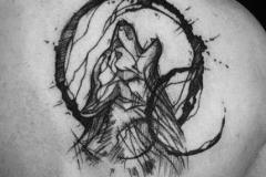 Татуировка : Волк, Животные, Луна