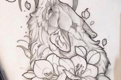Тату : Лиса, Волк, Животные, Цветы