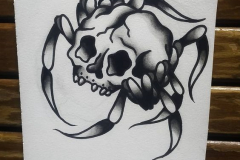 Татуировка : Череп, Паук - эскиз