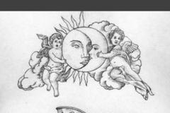 Татуировка : Люди, Луна, Солнце
