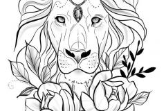 Татуировка : Животные, Цветы, Роза, Лев