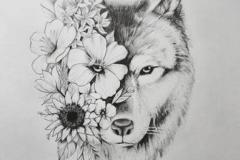 Татуировка : Волк, Животные, Цветы