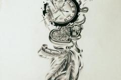 Татуировка : Время, Сердце - эскиз