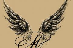 Наколка : Крылья, Надпись