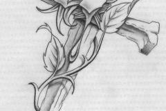 Татуировка : Цветы, Роза, Крест