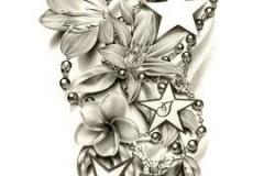 Наколка : Цветы, Звезды - эскиз