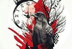 Татуировка : Птицы, Ворон, Цветные, Время