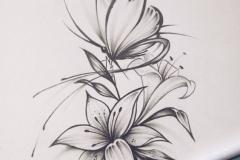 Наколка : Бабочка, Цветы